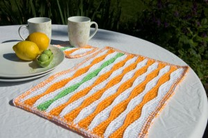 Summer-Waves-Placemat-and-Coaster-on-table